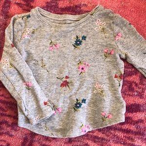 Floral waffle long sleeve shirt